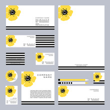 Business Set With Hand Drawn Yellow Wildflower On A White Background. Vector Illustration.