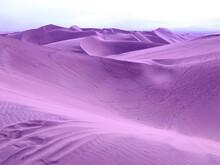 Surreal Violet Sand Dunes In Desert On Alien Planet.