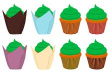 Illustration On Theme Irish Holiday St Patrick Day, Big Set Cupcakes
