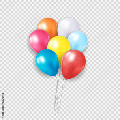 Group of Colour Glossy Helium Balloons Isolated on Transparent Background. Vector Illustration © yganko