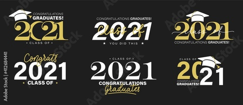 Fototapeta Class of 2021 vector badges set. Congrats graduates concept. Black, gold and white graduation logo collection. obraz