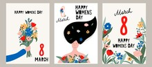 Happy Women's Day Greeting Card Set. 8 March Cute Posters, Cards, Flyers For Spring Holiday. Women Holding Flowers, Arm With A Bouquet, Floral Background. International Women's Day Vector Illustration