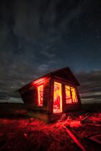 Long Exposure, Light Painted Abandoned Building With Starry Sky