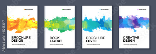 Obraz Watercolor A4 booklet colourful cover bundle set	with paint splash - fototapety do salonu