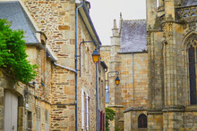 Old Buildings In Historical Center Of Dinan In Brittany, France