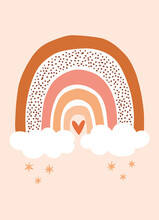 Cute Handdrawn Boho Rainbow With Clouds And Little Heart On Peach Background. Simple Style Nursery Wall Art For Baby Boy And Baby Girl. Vector Illustration Ideal As Card, Invitation, Poster.