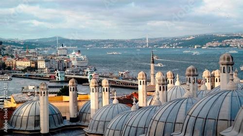 Obraz na plátne High Angle View Of Buildings By Sea Against Sky