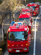 Tokyo,Japan-February 9, 2021: Fire Engines At Real Fire Scene In Tokyo, Japan