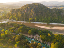 Aerial View Of The Mountain Landscape With Kok River A River Flowing Out Of The Hills Of Burma's Shan State Winding Its Way Across Chiang Rai Province To Mekong River.