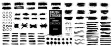 Ink Stains, Brush Stroke And Paint Splashes In Vector Collection. Black Artistic Design Elements, Quote Box, Speech Template, Frames For Text, Labels, Logo. Paintbrush Grunge. Street Art Template Set