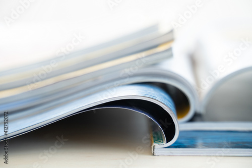 Fototapeta publication Newspaper and journal books background and catalog design article magazine press Newspaper with tablet obraz