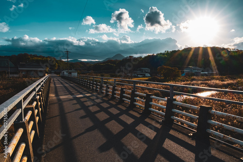 The Dramatic Landscape with A Bright Sun in A Town in A Countryside in Japan, Suburb Image, Nobody