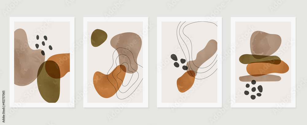 Fototapeta  Abstract wall arts vector background collection.  Earth tones Hand drawn organic shape art design for wall framed prints, canvas prints, poster, home decor, cover, wallpaper.