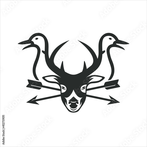 Fotografia illustration of deer,duck and arrows, vector art