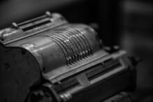 Grayscale Shot Of  Old Adding Cash Register Machine