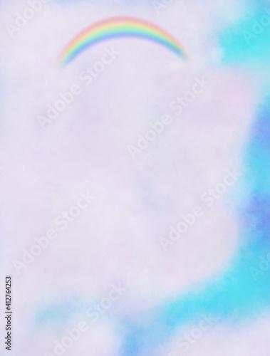 雲の中に見える美しい虹 Fototapeta