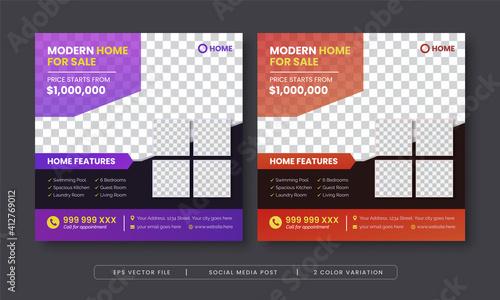 Obraz Modern home for sale social media post template - fototapety do salonu