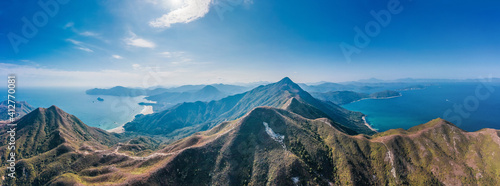 Fototapeta Epic Panorama view of East of Sai Kung, countryside, national park in Hong Kong, daytime, Aerial view obraz