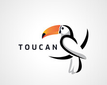 Simple Art Drawing Toucan Bird Sitting Logo Symbol Design Illustration Inspiration