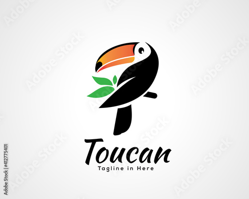 Obraz na plátně Simple nature toucan bird art style logo symbol icon design inspiration illustra