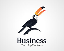 Simple Elegant Toucan Bird Art Logo Icon Symbol Design Illustration Inspiration