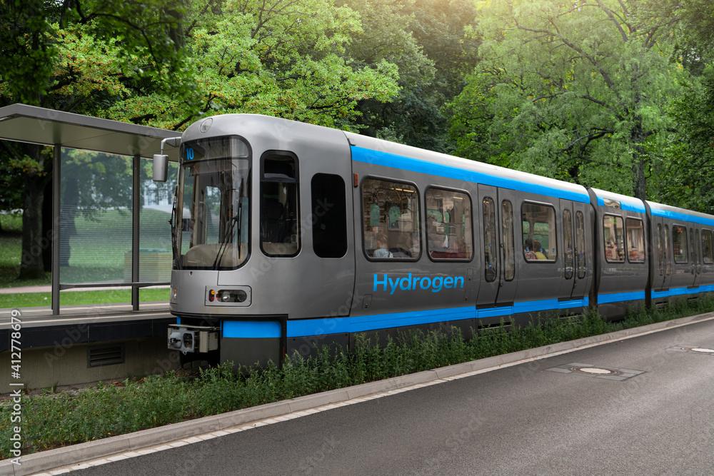 Fototapeta A hydrogen fuel cell train concept