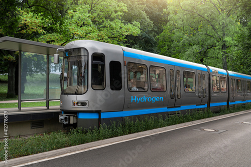 Fototapeta A hydrogen fuel cell train concept obraz