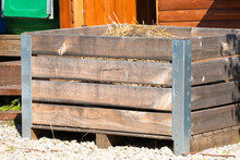 Compost Wooden Crate Or Container Outdoors Filled With Organic Decaying Matter Concept Environmentally Friendly Gardening