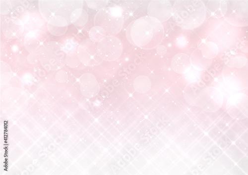 Obraz クロスフィルター風の輝きとボケ 幻想的な背景素材(ピンク) - fototapety do salonu