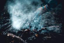 Old Vintage Black Pot On Firewood Burning. Kettle On Fire