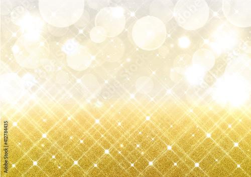 Obraz イルミネーション風の輝きとボケ キラキラのラメ 背景素材(ゴールド) - fototapety do salonu