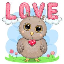 Cute Cartoon Owl With Heart And Text Love. Vector Illustration Of A Bird.