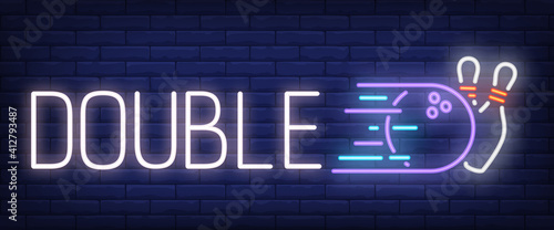 Cuadros en Lienzo Double neon text with bowling strike