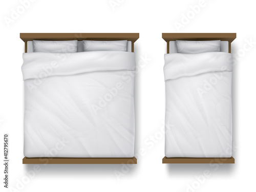 Single and double beds with white sheet, pillows and duvet top view Tapéta, Fotótapéta