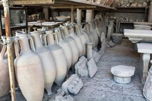 Pompeii, Italy, June 26, 2020 Amphorae In An Ancient Deposit Found After The Excavations Later To The Eruption Of The Volcano Vesuvius In 79 AD.