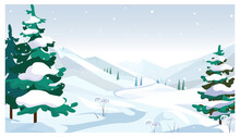 Winter Fields With Falling Snow Vector Illustration