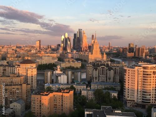 Fototapeta Aerial View Of Buildings In City Against Sky obraz