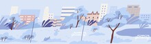 Panoramic View Of Empty Public City Park With Bench, Snowman And Trees Covered With Snow. Peaceful Snowy Winter Landscape On Background Of Urban Buildings. Colored Flat Cartoon Vector Illustration