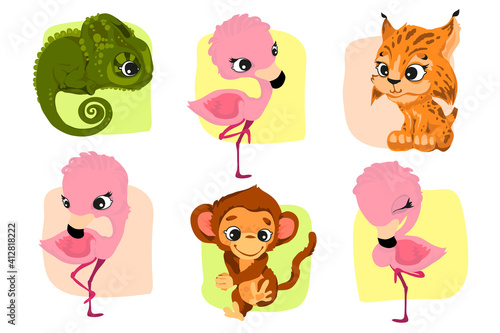 Fotografia Set of characters in cartoon style, fun and attractive animals