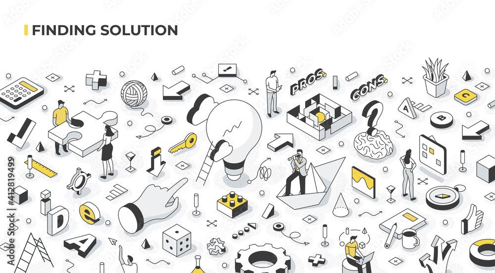Fototapeta Finding Solution and Problem Solving Isometric Illustration