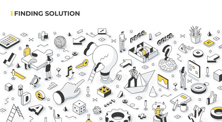 Finding Solution and Problem Solving Isometric Illustration