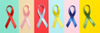 Different multicolored awareness ribbons on multicolor background