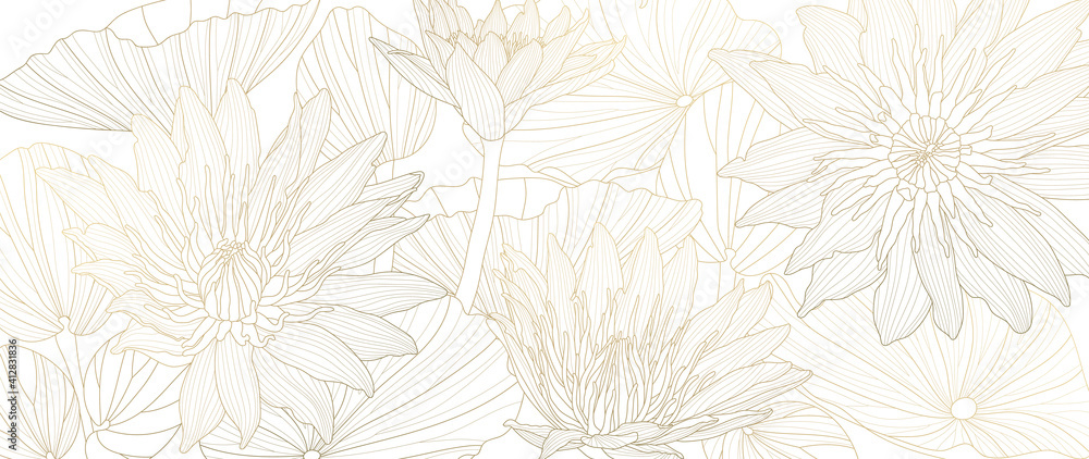 Fototapeta Luxury lotus background vector. Golden lotus line arts design for wall arts, fabric, prints and background texture, Vector illustration.