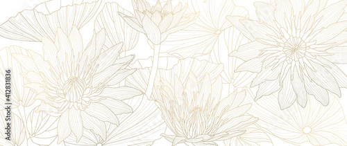 Obraz Luxury lotus background vector. Golden lotus line arts design for wall arts, fabric, prints and background texture, Vector illustration. - fototapety do salonu
