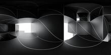 360 Spherical Panorama View Of Dark Futuristic Cube Building Architecture 3d Render Illustration Hdri Vr Style