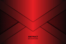 Modern Abstract Background With Dark Red Carbon Fiber. Red Gradient Geometric Shapes On Carbon Grid.