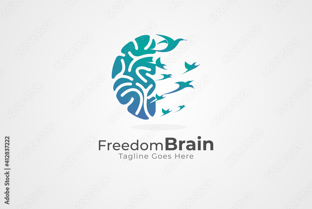 Fototapeta Brain Logo, brain and bird symbol of freedom combination,  flat design logo template, vector illustration