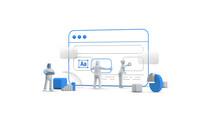 Web Browser UI UX Design Teamwork Concept 3D Illustration. Team People Building Creating Website User Interface Front View