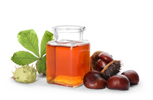 Horse Chestnuts, Bottle Of Tincture And Green Leaf On White Background