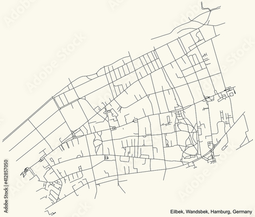 Photo Black simple detailed street roads map on vintage beige background of the neighb